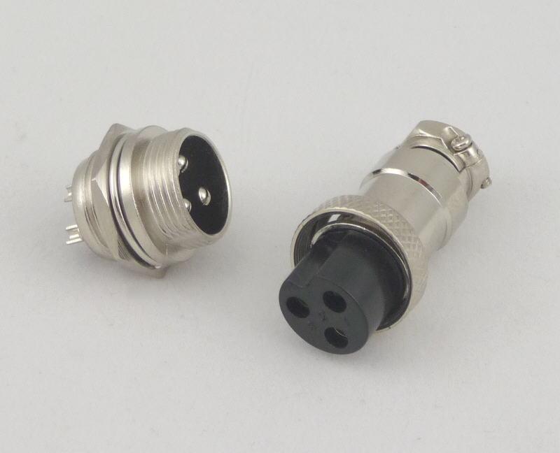 3 Pin Plug Connector 3-pin Plug And Jack Set With