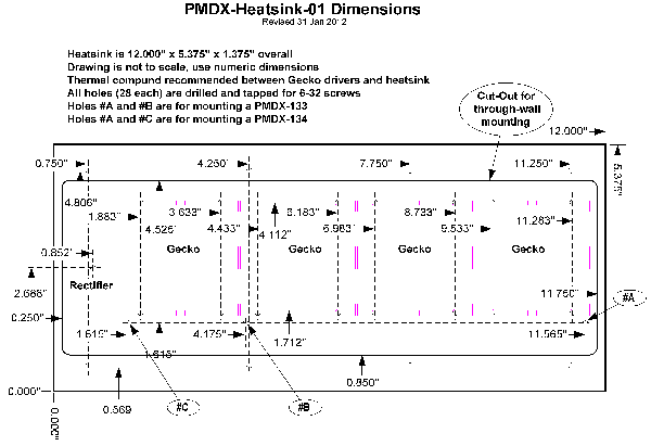 PMDX-Heatsink-01 Dimension Drawing